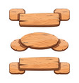 set with cartoon wooden ribbons for game assets vector image vector image