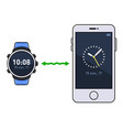 smart watch and phone time synchronization vector image vector image