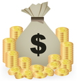 Stacks Of Gold Coins And Money Bag On White vector image vector image