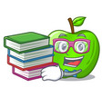 student with book green smith apple isolated on vector image vector image
