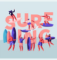 surfing surface water sport banner surfer vector image