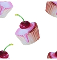 Sweet delicious watercolor pattern with cupcakes vector image
