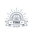 tire and wheel service badge design stock vector image vector image