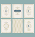 vintage ornament greeting cards set vector image