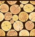 wooden logs brown bark of felled dry wood vector image