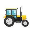 Yellow tractor isolated on white vector image vector image