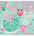 Owls and flowers seamless pattern vector image