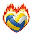 heart shaped volleyball on fire