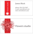 Red floral design business visiting card vector image