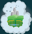 Abstract cloud with silver mountains green hills vector image