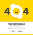 404 error with fried egg on yellow background vector image vector image