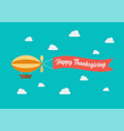 airship pulls banner with word happy vector image vector image