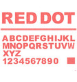 alphabet in red dot texture design uppercase vector image vector image