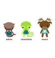 animal moose and cartoon chameleon walrus vector image
