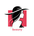 beautiful woman in hat stylized silhouette vector image