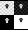 bird house icon isolated on black white and vector image
