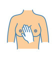 breast palpation color icon vector image vector image