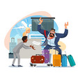 businessman late on airplane cartoon vector image