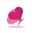 butterfly heart shape abstract icon vector image
