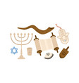 cartoon colorful judaism symbols set flat vector image