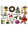 Christmas Day New Year celebration sketch set vector image