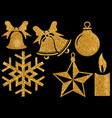 christmas glitter elements on black background vector image