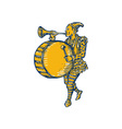 Clown With Trumpet and Drum Marching Etching vector image vector image