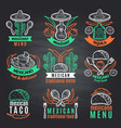 colored labels of mexican symbols on black vector image