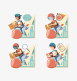 couriers delivery service characters icon vector image