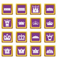 crown icons set purple vector image vector image