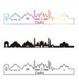 Delhi skyline linear style with rainbow vector image vector image