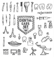 Dental Care Set with Different Hand Drawn Icons vector image vector image
