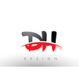 dh d h brush logo letters with red and black vector image vector image