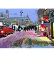 Digital art painting of evening winter city landsc