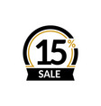 discount card with 15 percent sale advertising vector image