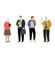 elderly people and volunteers vector image vector image