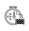 embroidery black linear icon vector image