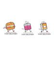 fast delivery service logo design set food vector image