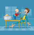 father and son having breakfast with porridge vector image