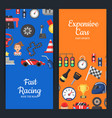 flat car racing icons web banner templates vector image vector image