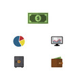 flat icon gain set of strongbox chart billfold vector image vector image