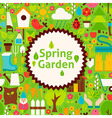 Flat Spring Garden Green Poster Postcard vector image vector image