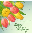 Floral decorative card with red and yellow tulips vector image