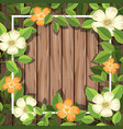 flower on wooden frame vector image vector image