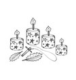 four christmas candles with holly leaves and woode vector image vector image