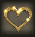 gold frame heart on wooden background vector image
