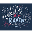 hand drawn lettering with raven surrounded with vector image vector image