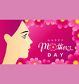 happy mothers day women on pink beautiful flowers vector image