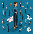 isometric 3d businessmen in different situations vector image vector image