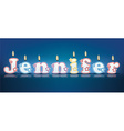 JENNIFER written with burning candles vector image